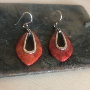 Vibrant Red Coral Silpada Earrings